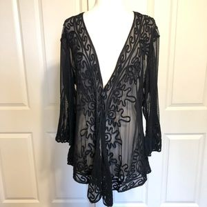 PRETTY ANGEL Top Large Gypsy Sheer Lace Black